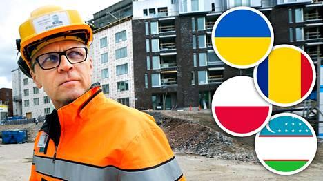 Suomen rakennustyömailla on työmiehiä mm. Ukrainasta, Romaniasta, Puolasta ja Uzbekistanista. Kielimuuri voi aiheuttaa ongelmia, arvioi Rakennusliiton Matti Harjuniemi.