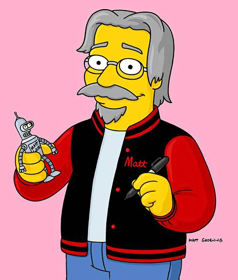 Simpsonien luoja Matt Groening Simpsonina.