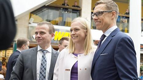 Petteri Orpo, Elina Lepomäki ja Alexander Stubb.