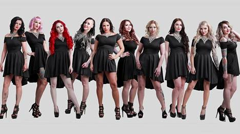 Miss Rock -kauneuskilpailun finaalissa kisaa kymmenen kaunotarta.