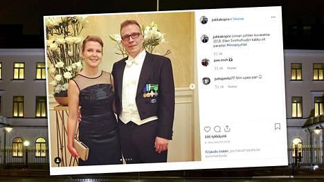 Viime vuonna Jukka ja Anu Kopran Linnan juhlat sujuivat ilman yllätyskäänteitä. Kuva parin juhlalookista vuodelta 2018.