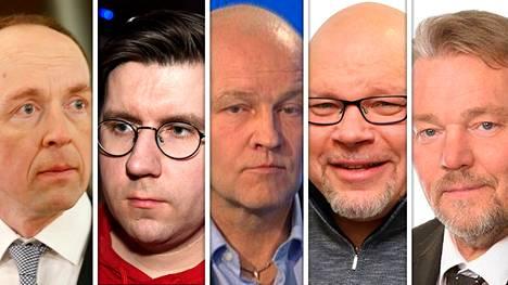 Jussi Halla-aho (vas.), Sebastian Tynkkynen, Jussi Wihinen, Ano Turtiainen ja Jukka Mäkynen.