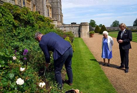 Windsorin pääpuutarhuri Philip Carter istutti muistoruusun Windsorin linnan itäiseen puutarhaan kuningatar Elisabetin ja Kuninkaallisen puutarhaseuran Keith Weedin kanssa.