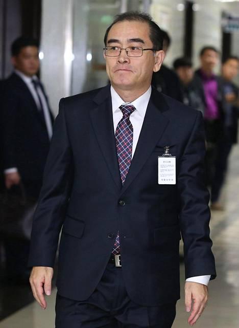 Thae Yong-ho saapui perjantaina Etelä-Korean turvallisuuskomitean kuultavaksi Soulissa.
