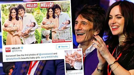 Ronnie Wood sai kaksotytöt vaimonsa Sally Woodin kanssa 30. toukokuuta.