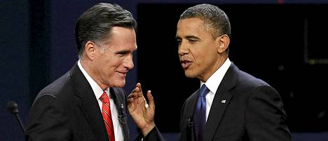 Mitt Romney (vas.) tai Barack Obama on USA:n seuraava presidentti.