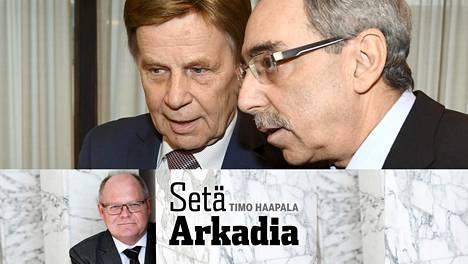 Mauri Pekkarinen (vas.) ja Ben Zyskowicz ovat istuneet eduskunnassa kumpikin 40 vuotta putkeen.