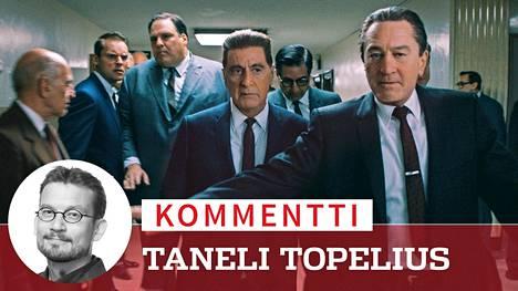 The Irishman -elokuvassa nähdään kaksi gangsterielokuvien titaania: Al Pacino (toinen oik.) ja Robert De Niro (oik.) De Niro näyttelee irlantilaissyntyistä gangsterien käskyläistä Frank Sheerania, Pacino puolestaan 1975 kadonnutta ammattiyhdistyspomoa Jimmy Hoffaa.