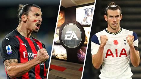Zlatan Ibrahimovic (vas.) ja Gareth Bale kummastelivat maanantaina sosiaalisessa mediassa esiintymistään uudessa Fifa21-konsolipelissä.