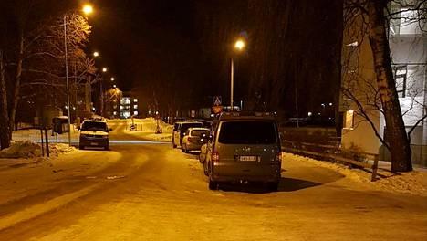 Poliisit ottivat miehen kiinni Roihuvuoressa tapahtuneessa poliisioperaatiossa 12.1.2019.