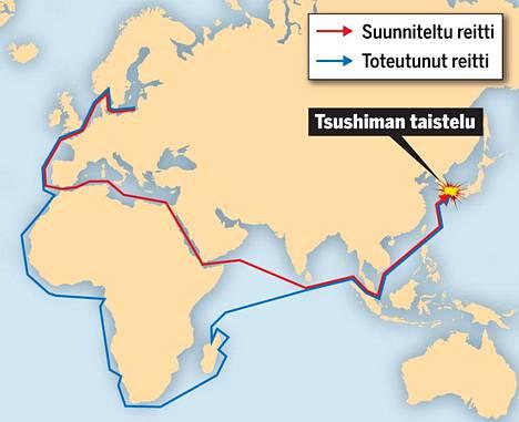 Venäläisten merimatkan reitistä voi päätellä, ettei homma mennyt ihan putkeen.