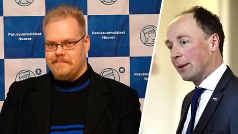 Toni Jalonen Ps-nuorten syyskokouksessa marraskuussa 2019. Jussi Halla-ahon mukaan Jaloselle lähetetään selvityspyyntö tämän fasistipuheista.