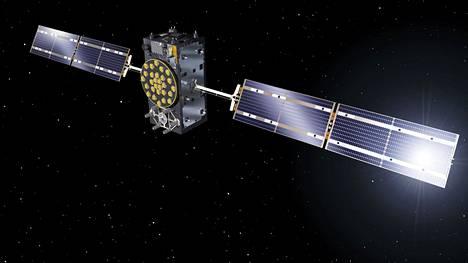 Euroopan avaruusjärjestön ESAn heinäkuussa julkistamaa taiteilijakuvitusta Galileo-satelliitista.
