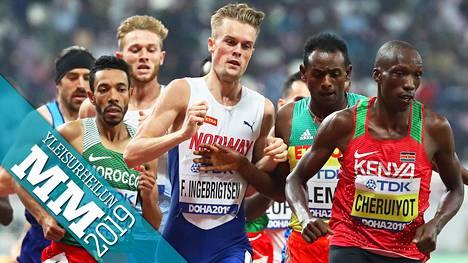 Filip Ingebrigtsen ja Etiopian Teddese Lemi tuuppivat toisiaan 1500 metrin alkuerässä.