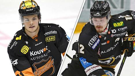 KooKoon Malte Strömwall (vas.) ja Kärppien Ville Leskinen taistelevat pistepörssin voitosta.