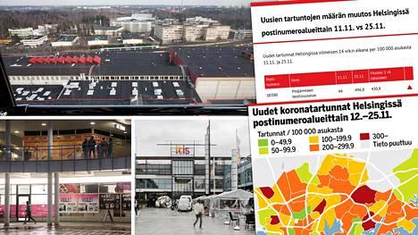 Koronatartuntojen määrä on Helsingissä lisääntynyt runsaasti muiden muassa Pitäjänmäen teollisuusalueella, Puotinharjussa ja Itäkeskus-Marjaniemen alueella.