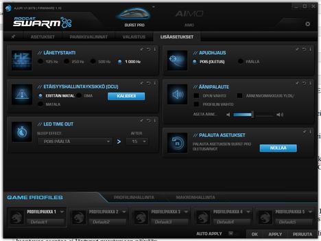 Swarm-ohjelmistolla säädetään dpi:tä, valoja ja muita asetuksia.