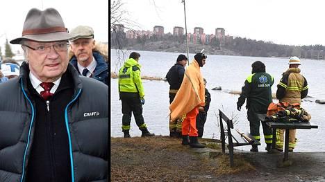 """Lahden MM-kisoja seuraamaan saapunut Ruotsin kuningas Kaarle Kustaa kommentoi medialle ystävänsä Carl Adam """"Noppe"""" Lewenhauptin äkillistä kuolema. Lewenhauptin ruumis löydettiin Tukholman edustalta keskiviikkona."""