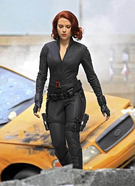 Scarlett Johansson elokuvan kuvauksissa.