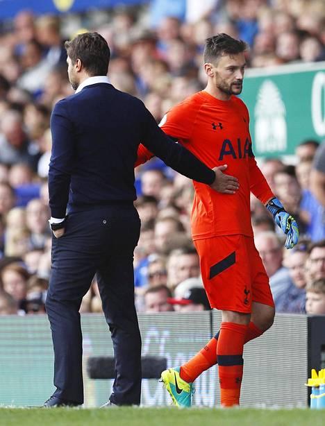 Hugo Lloris linkutti vaihtoon Evertonia vastaan.
