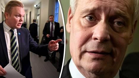 Keskustan eduskuntaryhmän puheenjohtaja Antti Kurvinen (vas.) ja pääministeri Antti Rinne.