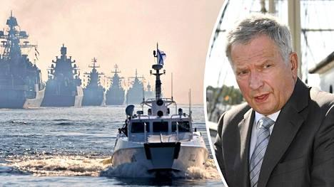 Venäjän Merikilpi 2019 -sotaharjoitus tuli Sauli Niinistölle yllätyksenä. Kuvassa venäläisiä sotalaivoja paraatimuodostelmassa heinäkuussa.