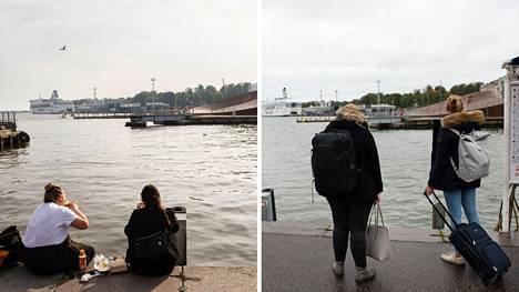 Helsingin Kauppatori syyskuussa 2020 ja 2021.
