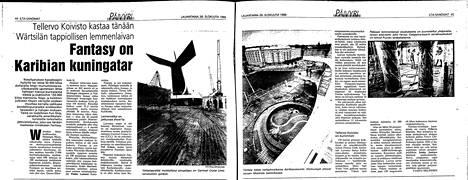 Lehtileike 26. elokuuta 1989 kertoo, kuinka Carnival Fantasyn kastaa itse Tellervo Koivisto.