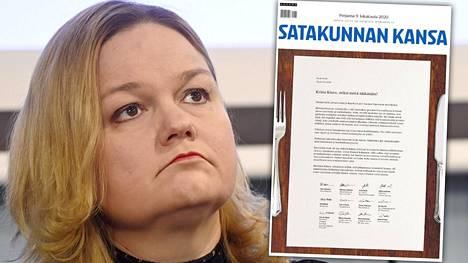 Ravintolaväki käytti koko Satakunnan Kansan etusivun kertoakseen mielipiteensä perhe- ja peruspalveluministeri Krista Kiurun toimialaan kuuluvasta ravintolatoiminnan lisärajoituksista.