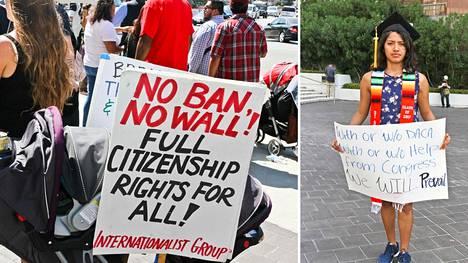 Unelmoijiksi kutsutut DACA-ohjelman piiriin kuuluvat siirtolaiset ja heidän tukijansa osoittivat Los Angelesissa mieltä Trumpin hallintoa vastaan.