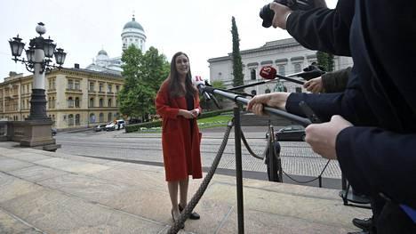 Pääministeri Sanna Marin saapuu hallituksen neuvotteluun Säätytalolle 9. kesäkuuta 2020 Helsingissä.