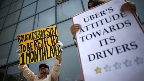Uberin toimintatapa on herättänyt myös kritiikkiä. Nämä kuljettajat osoittivat viime kesänä mieltään yhtiön työehtoja vastaan Kaliforniassa.
