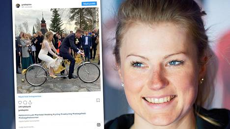 Pyöräilijä Lotta Lepistö meni naimisiin. Hääpari pantiin juhlissa tandemin selkään.