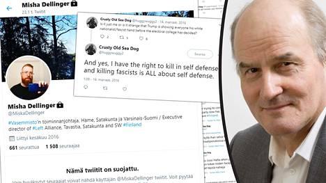 Matti Tolvanen (oik.) kommentoi Misha Dellingerin perustamalla Crusty Old Sea Dog -nimisellä Twitter-tilillä julkaistuja tekstejä.