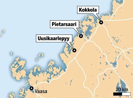 Uusikaarlepyy, Pietarsaari ja Kokkola sijaitsevat rannikolla Vaasasta pohjoiseen.