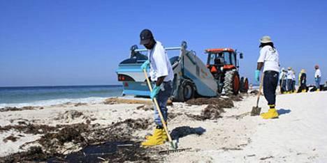 BP:n palkkaamat työntekijät puhdistavat Gulf Shores -hiekkarantaa Alabamassa.