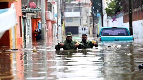 Tulvavettä Hidalgon osavaltiossa Meksikossa.