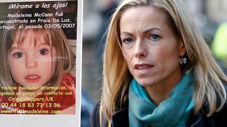 Madeleinen katoamisilmoitus äitinsä Kate McCannin kuvan vieressä.