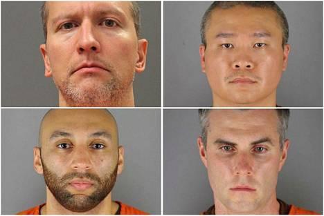 Entiset poliisit Derek Chavin (vas. ylh.), Tou Thao (oik. ylh.), Thomas Lane (vas. alh.) ja J. Alexander Kueng (oik. alh.) ovat kuolemasta syytettyinä.