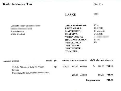 Vuosikertomuskuvauspäivän 13.5.2019 stailaus maksoi 744 euroa.