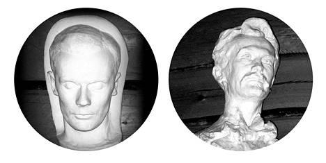 Sulevi Mannisen (1909–1936) kuolinnaamio pelotti lapsia vielä 2000-luvulla. Oikealla Hilja Flodin veisti Otto Mannisen kaapin päälle.