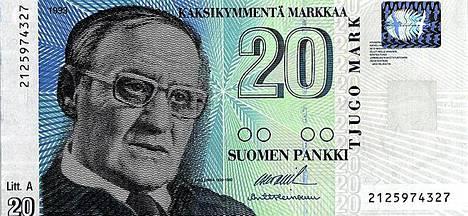 Kahdenkymmenen markan seteli uudella hologrammilla vuodelta 1993.