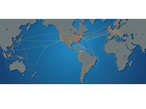 Oranssit verkot ovat Level 3:n omistuksessa, mutta ne ovat yhdistetty maailman muihin runkoverkkoihin.