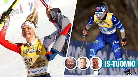 Therese Johaug (vas.) oli tiistaina ylivoimaisesti koko porukan paras, Riitta-Liisa Roponen nopein suomalainen.