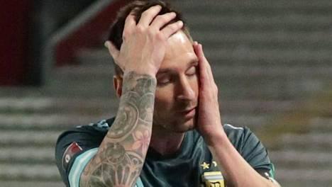 Lionel Messi Argentiinan MM-karsintaottelussa Perua vastaan tiistaina.