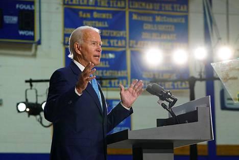 Demokraattien presidenttiehdokas Joe Biden kritisoi presidentti Donald Trumpia kampanjatilaisuudessaan Delawaressa.