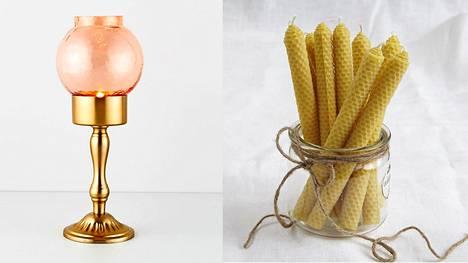Syksy on tunnelmoinnin aikaa. Vasemmalla Indiskan Duri lantern l -lyhty, oikealla Kaurilan saunan Beeswax candles -kynttilät.