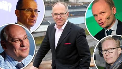 Pekka Vauramo (keskellä) on palkkiokuningas. Seuraavina listalla tulevat Pakka Lundmark, Matti Lievonen, Heikki Malinen ja Rolf Jansson.