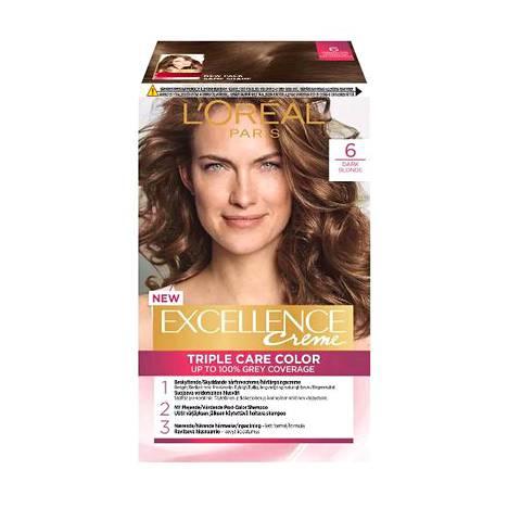 L'Oréal toi takaisin perussävyn 6.0. Pakkauksessa sitä nimitetään dark blondeksi eli tummanvaaleaksi. L'Oréal Paris Excellence -hiusväripaketti, 13,50 €.