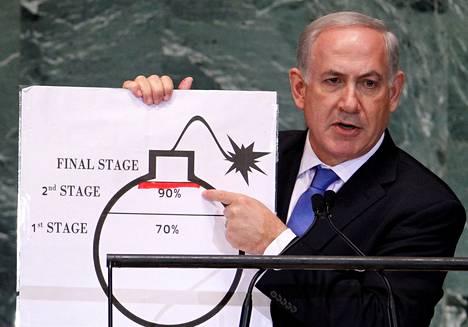 Israelin pääministeri Benjamin Netanjahu puhui YK:n yleiskokouksessa syyskuussa 2012. Kuvassa hän osoittaa punaista viivaa, jonka hän piirsi Iranin ydinohjelmaa edustavaan pommin kuvaan.